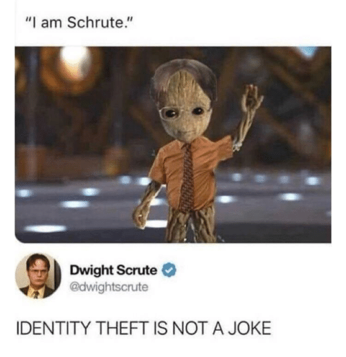 "Not A: ""I am Schrute.""  Dwight Scrute O  @dwightscrute  IDENTITY THEFT IS NOT A JOKE"