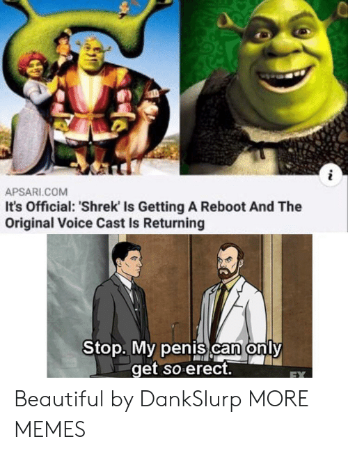 Beautiful, Dank, and Memes: i  APSARI.COM  It's Official: 'Shrek Is Getting A Reboot And The  Original Voice Cast Is Returning  Stop. My penis can only  get so erect.  EX Beautiful by DankSlurp MORE MEMES