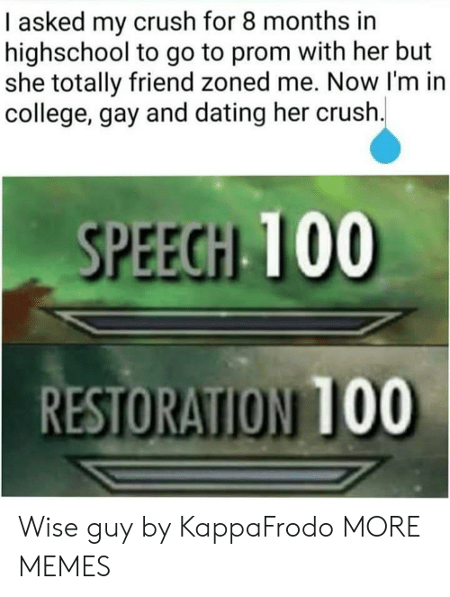 College, Crush, and Dank: I asked my crush for 8 months in  highschool to go to prom with her but  she totally friend zoned me. Now I'm in  college, gay and dating her crush  SPEEGH 100  RESTORATION T00 Wise guy by KappaFrodo MORE MEMES