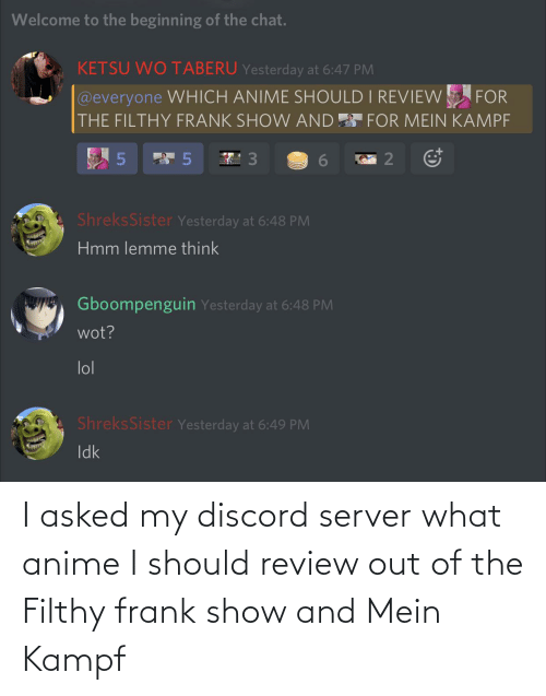 Filthy Frank: I asked my discord server what anime I should review out of the Filthy frank show and Mein Kampf