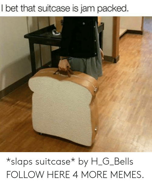 Bet That: I bet that suitcase is jam packed. *slaps suitcase* by H_G_Bells FOLLOW HERE 4 MORE MEMES.