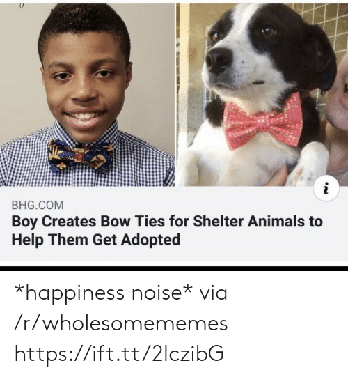 Ties: i  BHG.COM  Boy Creates Bow Ties for Shelter Animals to  Help Them Get Adopted *happiness noise* via /r/wholesomememes https://ift.tt/2lczibG