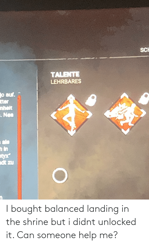 Shrine: I bought balanced landing in the shrine but i didnt unlocked it. Can someone help me?