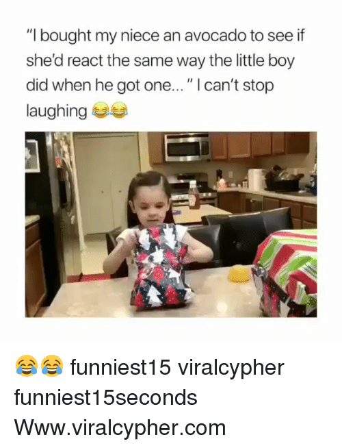 """Funny, Avocado, and Boy: """"I bought my niece an avocado to see if  she'd react the same way the little boy  did when he got one..."""" I can't stop  laughing 부부 😂😂 funniest15 viralcypher funniest15seconds Www.viralcypher.com"""
