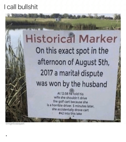 Historical: I call bullshit  Historical Marker  On this exact spot in the  afternoon of August 5th,  2017 a marital dispute  was won by the husband  At 12.58 he told his  wife she shouldn't drive  the golf cart because she  is a horrible driver. 5 minutes later  she accidentally drove cart  # 42 into this lake  @highfiveexpert .