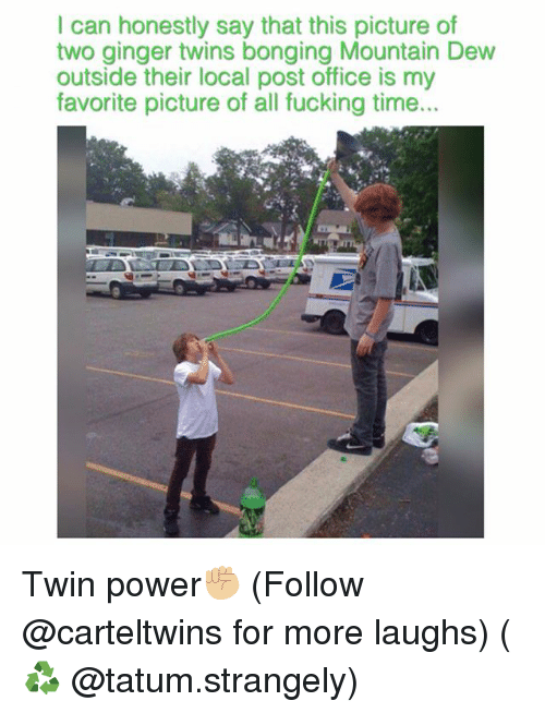 gingerly: I can honestly say that this picture of  two ginger twins bonging Mountain Dew  outside their local post office is my  favorite picture of all fucking time... Twin power✊🏼 (Follow @carteltwins for more laughs) (♻️ @tatum.strangely)