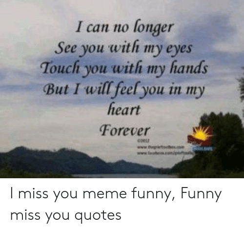 miss you meme: I can no longer  See you with my eyes  Touchi you with my hands  But I will feel you in my  heart  Forever I miss you meme funny, Funny miss you quotes