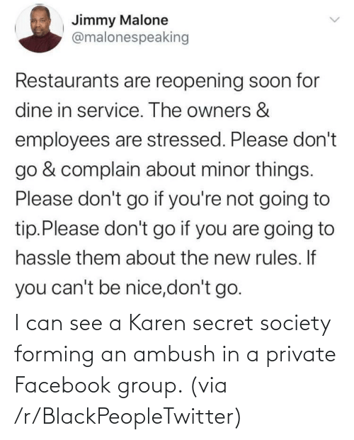 secret: I can see a Karen secret society forming an ambush in a private Facebook group. (via /r/BlackPeopleTwitter)
