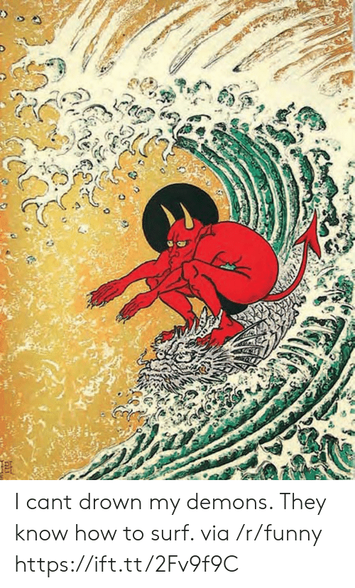 Funny, How To, and How: I cant drown my demons. They know how to surf. via /r/funny https://ift.tt/2Fv9f9C