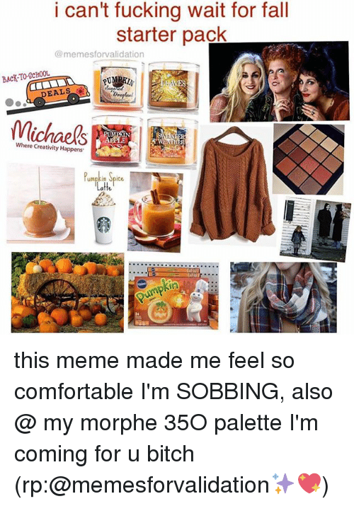 Morphe: i can't fucking wait for fall  starter pack  @memesforvalidation  BACK-TO-SCHOOL  EALSu  2  DEALS  Michaels  Where Creativity Happens  Pmpkin Spice  atte  24 this meme made me feel so comfortable I'm SOBBING, also @ my morphe 35O palette I'm coming for u bitch (rp:@memesforvalidation✨💖)