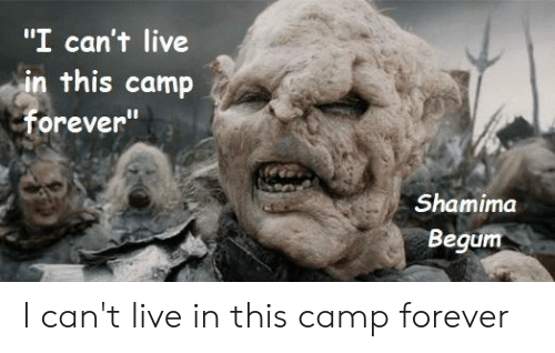"""Shamima Begum: """"I can't live  in this camp  Forever  Shamima  Begum I can't live in this camp forever"""