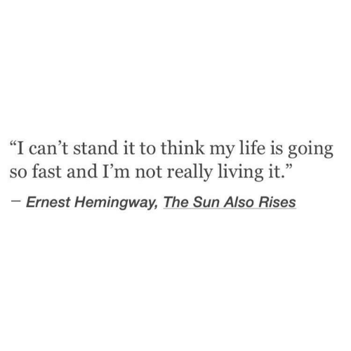 """Life, Ernest Hemingway, and Living: """"I can't stand it to think my life is going  so fast and I'm not really living it.""""  Ernest Hemingway, The Sun Also Rises"""