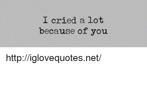 Because of You: I cried a lot  because of you http://iglovequotes.net/