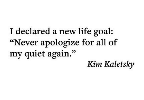"""Life Goal: I declared a new life goal  """"Never apologize for all of  my quiet again.""""  Kim Kaletsky"""
