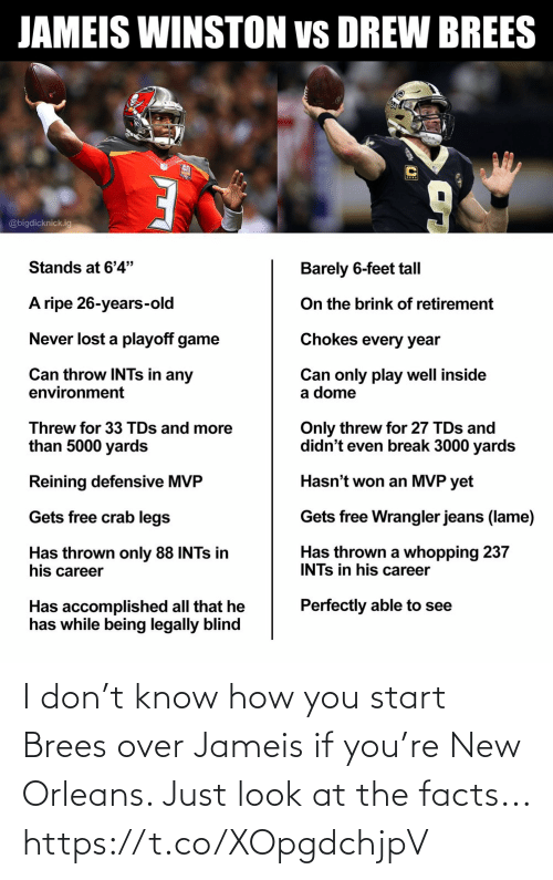 Start: I don't know how you start Brees over Jameis if you're New Orleans. Just look at the facts... https://t.co/XOpgdchjpV