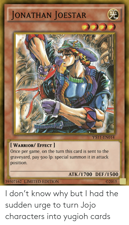 cards: I don't know why but I had the sudden urge to turn Jojo characters into yugioh cards
