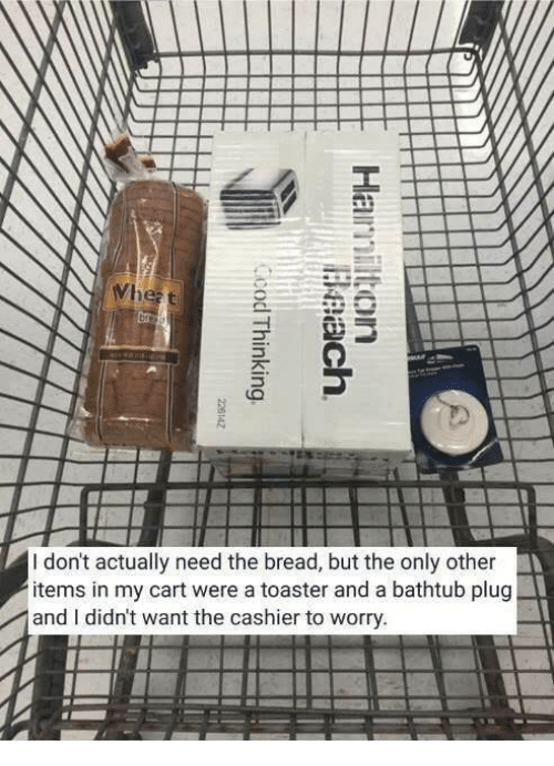 carts: I don't actually need the bread, but the only other  items in my cart were a toaster and a bathtub plug  and I didn't want the cashier to worry