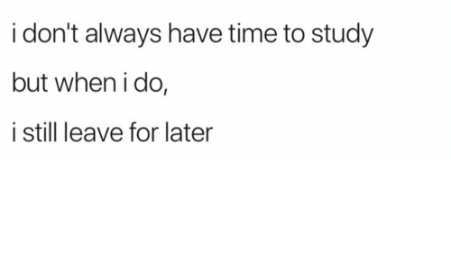 Time, Still, and For: i don't always have time to study  but when i do,  i still leave for later