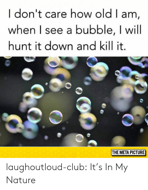Kill It: I don't care how old I am,  when I see a bubble, I will  hunt it down and kill it.  THE META PICTURE laughoutloud-club:  It's In My Nature