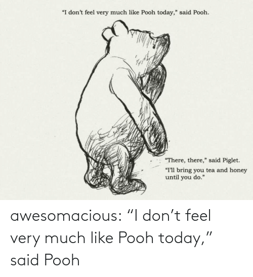 """honey: """"I don't feel very much like Pooh today,"""" said Pooh.  """"There, there,"""" said Piglet.  """"I'll bring you tea and honey  until you do."""" awesomacious:  """"I don't feel very much like Pooh today,"""" said Pooh"""