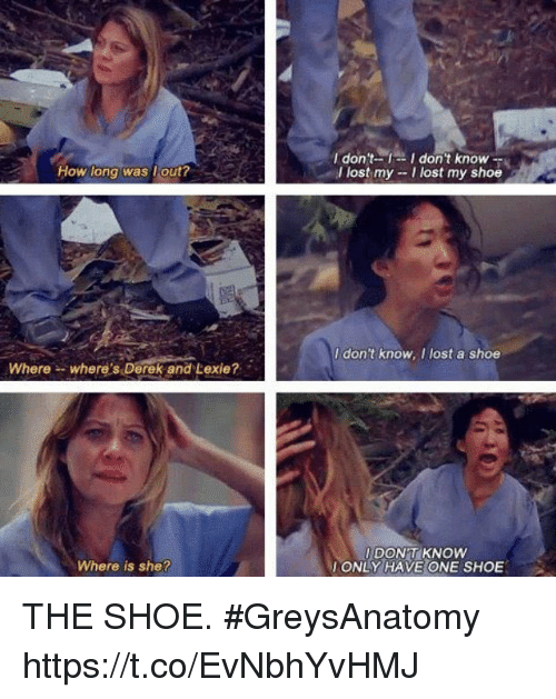 Where Is She: I don't-I don't know --  I lost my -I lost my shoe  How long was lout?  I dont know, I lost a shoe  Wherewhere s Derek and Lexie?  DON'T KNOW  ONLY HAVE ONE SHOE  Where is she? THE SHOE. #GreysAnatomy https://t.co/EvNbhYvHMJ