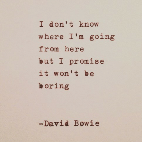 David Bowie, Bowie, and I Dont Know: I don't know  where I'm going  from here  but I promise  it won't be  boring  -David Bowie