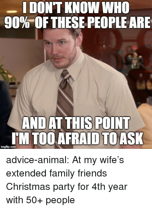 Advice, Christmas, and Family: I DON'T KNOW WHO  90%OF THESE PEOPLE ARE  AND AT THIS POINT  I'M TOOAFRAID TOASK advice-animal:  At my wife's extended family  friends Christmas party for 4th year with 50+ people