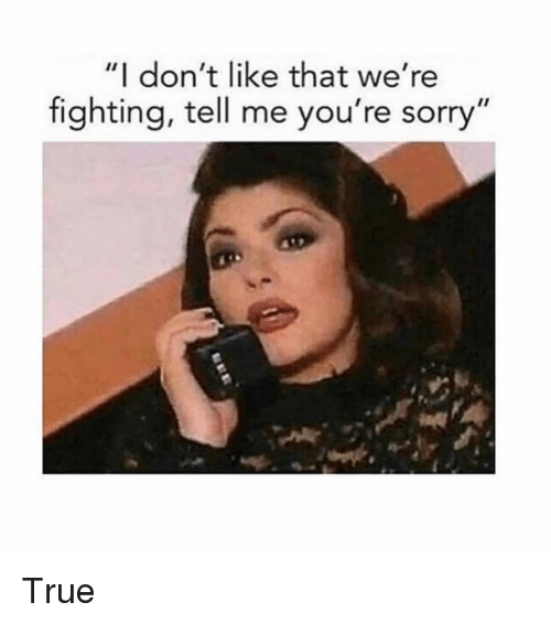 """Sorry, True, and Girl Memes: """"I don't like that we're  fighting, tell me you're sorry"""" True"""