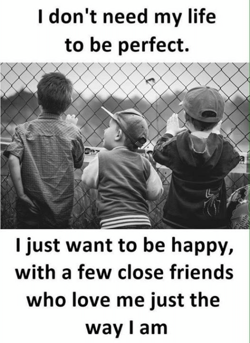 Friends, Life, and Love: I don't need my life  to be perfect.  I just want to be happy,  with a few close friends  who love me just the  way I am