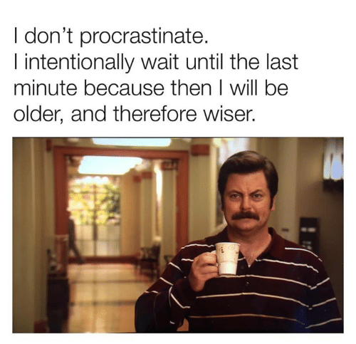 procrastinate: I don't procrastinate.  I intentionally wait until the last  minute because then I will be  older, and therefore wiser.