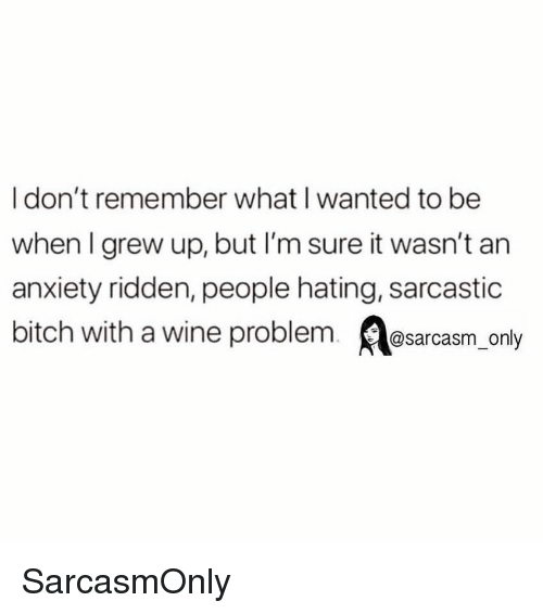 Bitch, Funny, and Memes: I don't remember what I wanted to be  when I grew up, but I'm sure it wasn't an  anxiety ridden, people hating, sarcastic  bitch with a wine problem. sarcasm_ only SarcasmOnly