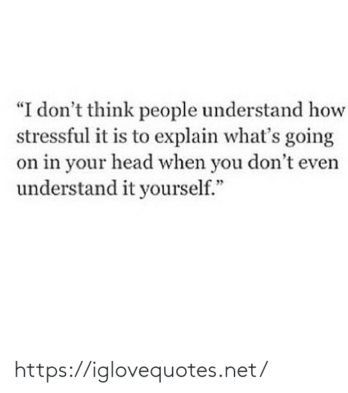 "understand: ""I don't think people understand how  stressful it is to explain what's going  on in your head when you don't even  understand it yourself."" https://iglovequotes.net/"