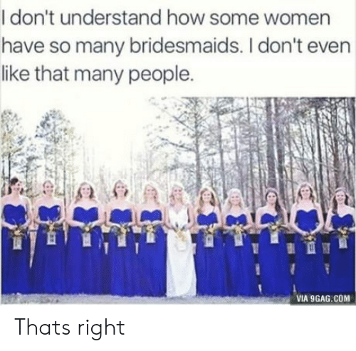 Bridesmaids: I don't understand how some women  have so many bridesmaids. I don't even  like that many people.  VIA 9GAG.COM Thats right