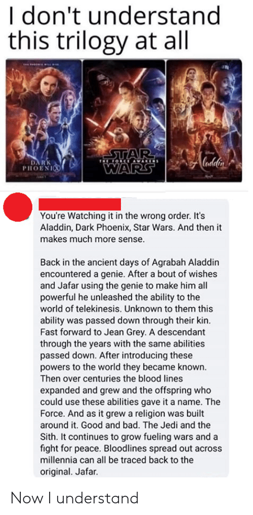 Introducing: I don't understand  this trilogy at all  STAR  OCE AVARIS  Cadlin  DA RK  PHOENI  WARS  You're Watching it in the wrong order. It's  Aladdin, Dark Phoenix, Star Wars. And then it  makes much more sense.  Back in the ancient days of Agrabah Aladdin  encountered a genie. After a bout of wishes  and Jafar using the genie to make him all  powerful he unleashed the ability to the  world of telekinesis. Unknown to them this  ability was passed down through their kin.  Fast forward to Jean Grey. A descendant  through the years with the same abilities  passed down. After introducing these  powers to the world they became known.  Then over centuries the blood lines  expanded and grew and the offspring who  could use these abilities gave it a name. The  Force. And as it grew a religion was built  around it. Good and bad. The Jedi and the  Sith. It continues to grow fueling wars and a  fight for peace. Bloodlines spread out across  millennia can all be traced back to the  original. Jafar. Now I understand