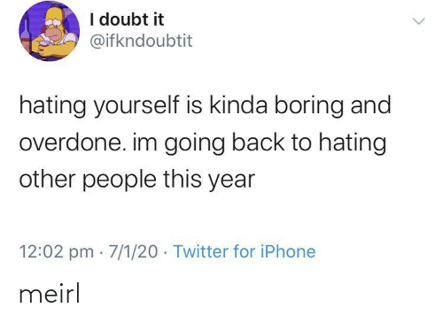 iphone: I doubt it  @ifkndoubtit  hating yourself is kinda boring and  overdone. im going back to hating  other people this year  12:02 pm · 7/1/20 · Twitter for iPhone meirl