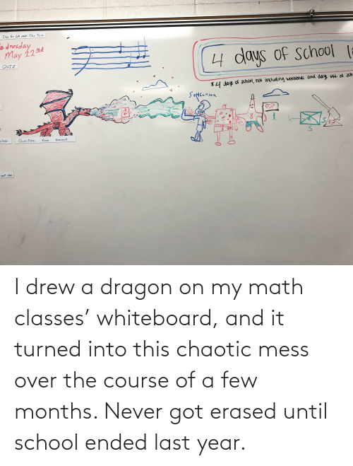 a-few-months: I drew a dragon on my math classes' whiteboard, and it turned into this chaotic mess over the course of a few months. Never got erased until school ended last year.