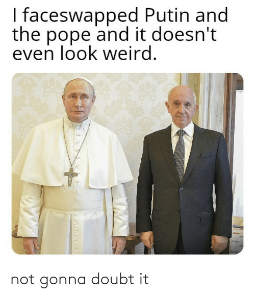 Not Gonna: I faceswapped Putin and  the pope and it doesn't  even look weird. not gonna doubt it