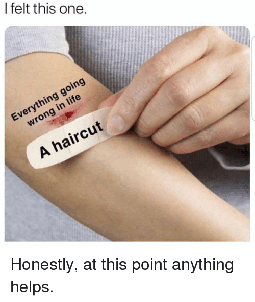 Haircut, Life, and Memes: I felt this one.  Everything going  wrong in life  A haircut Honestly, at this point anything helps.