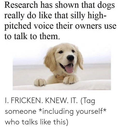 Yourself: I. FRICKEN. KNEW. IT. (Tag someone *including yourself* who talks like this)