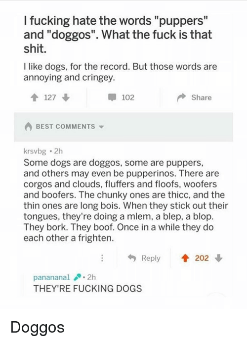 """Boof: I fucking hate the words """"puppers""""  and """"doggos"""". What the fuck is that  shit  I like dogs, for the record. But those words are  annoying and cringey.  127 ↓  102  Share  BEST COMMENTS  krsvbg 2h  Some dogs are doggos, some are puppers,  and others may even be pupperinos. There are  corgos and clouds, fluffers and floofs, woofers  and boofers. The chunky ones are thicc, and the  thin ones are long bois. When they stick out their  tongues, they're doing a mlem, a blep, a blop  They bork. They boof. Once in a while they do  each other a frighten.  Reply  202  panananal.2h  THEY'RE FUCKING DOGS Doggos"""