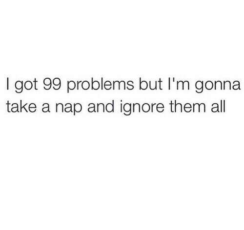 Got 99 Problems: I got 99 problems but I'm gonna  take a nap and ignore them al
