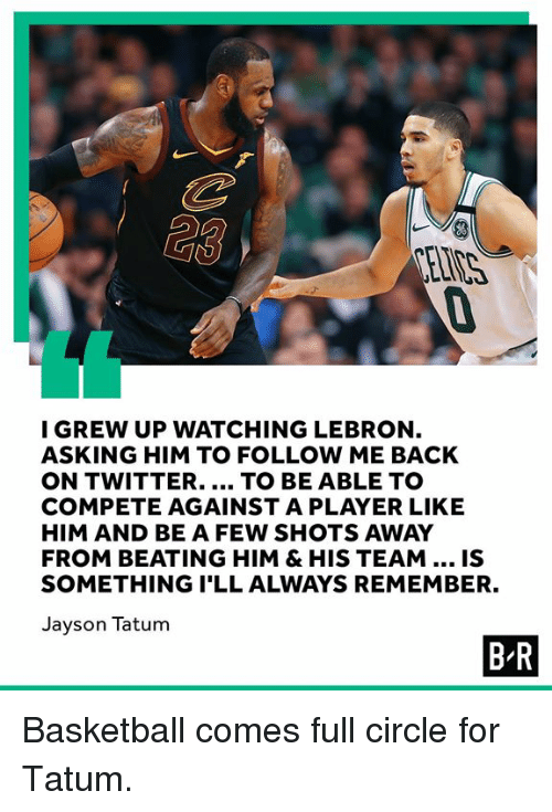 Basketball, Twitter, and Lebron: I GREW UP WATCHING LEBRON  ASKING HIM TO FOLLOW ME BACK  ON TWITTER.... TO BE ABLE TO  COMPETE AGAINST A PLAYER LIKE  HIM AND BE A FEW SHOTS AWAY  FROM BEATING HIM & HIS TEAM.. IS  SOMETHING I'LL ALWAYS REMEMBER.  Jayson Tatum  B-R Basketball comes full circle for Tatum.