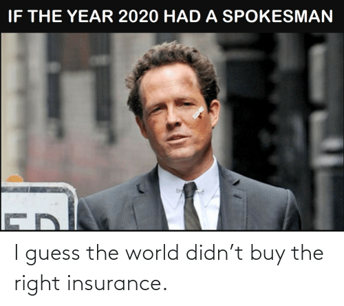Guess: I guess the world didn't buy the right insurance.