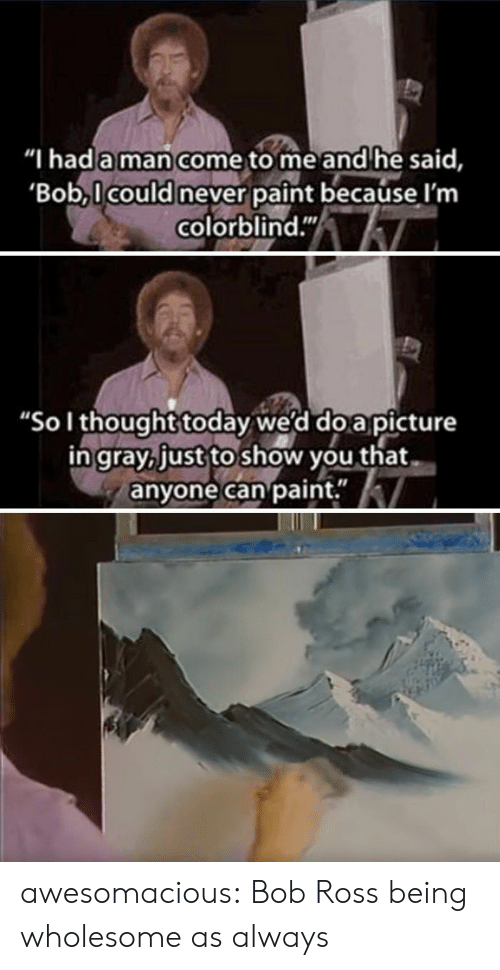 "As Always: ""I hada man come to me and he said,  Bob,l could never paint because l'm  colorblind.""  ""Sol thought today we'd do a picture  ingray, just to show you that  anyone can paint."" awesomacious:  Bob Ross being wholesome as always"