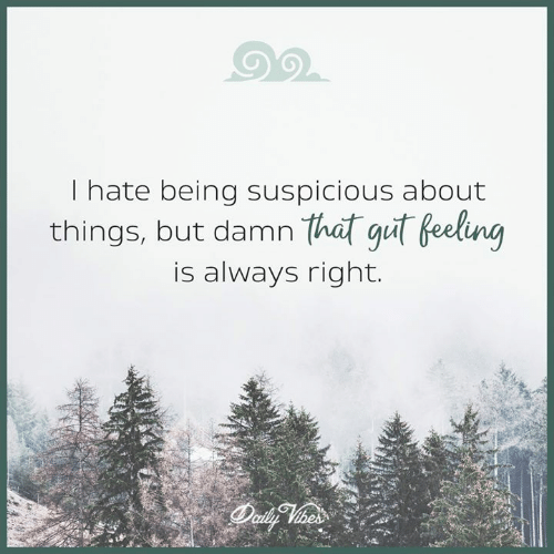 Always Right: I hate being suspicious about  things, but damrn  that gut Beelng  is always right.