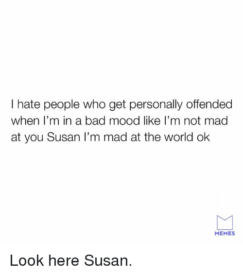 i hate people: I hate people who get personally offended  when l'm in a bad mood like l'm not mad  at you Susan I'm mad at the world ok  MEMES Look here Susan.