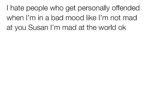 i hate people: I hate people who get personally offended  when T'm in a bad mood like l'm not mada  at you Susan I'm mad at the world ok