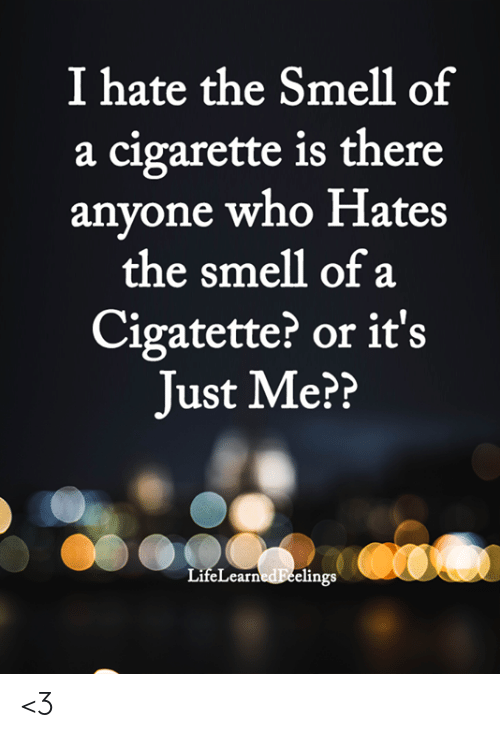 Memes, Smell, and Cigarette: I hate the Smell of  a cigarette is there  anyone who Hates  the smell of a  Cigatette? or it's  Just Me??  LifeLearnedEeelings <3