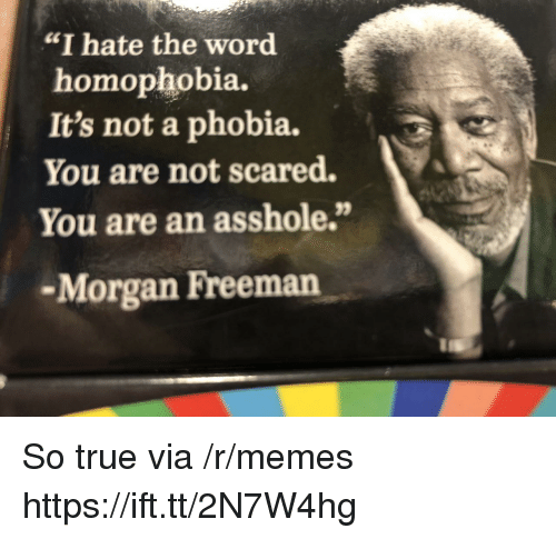 "Memes, Morgan Freeman, and True: ""I hate the word  homophobia.  It's not a phobia.  You are not scared.  You are an asshole.""  -Morgan Freeman So true via /r/memes https://ift.tt/2N7W4hg"