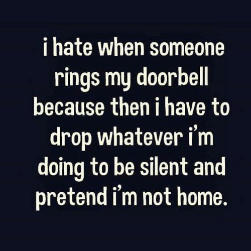 Doorbell: i hate when someone  rings my doorbell  because then i have to  drop whatever i'm  doing to be silent and  pretend i'm not home